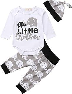 Geagodelia 3tlg Babykleidung Set Baby Jungen Kleidung Outfit Body Strampler  Hose  Mütze Neugeborene Kleinkinder Weiche Babyset T-18266