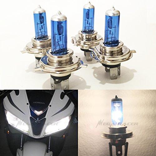 Mega Racer Combo 2 Pair H4 9003 HB2 60/55W White 5000K Xenon Halogen Headlight Lamp Light Bulb (High/Low Beam) US Motorcycle Bike