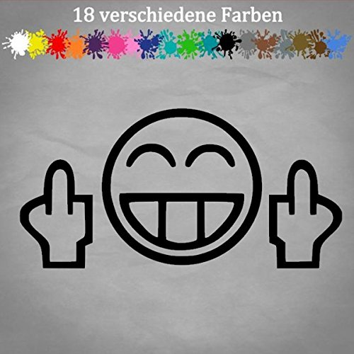 Generic Mittelfinger 20x10cm Smiley Auto Aufkleber Golf Opel GTI Tuning JDM OEM Sticker in 18 Farben