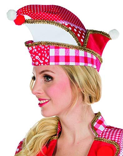 Mottoland 414454/55 - Narrenkappe rot/weiß * Uniform Mütze* mit Mustern & Bommeln (414455 - 57)