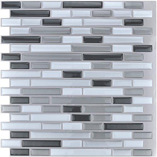 Art3d Peel and Stick Vinyl Sticker Kitchen Backsplash Tiles, 12u0022 x 12u0022 Gray White Design (6-Pack)