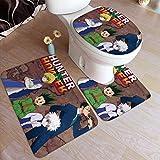 RJ Unique Hun-TER X Hun-TER Alfombras de baño de Dibujos Animados de Anime 3pcs / Set Almohadillas Antideslizantes Alfombrilla de baño + Contorno + Tapa del Inodoro Tapa del baño