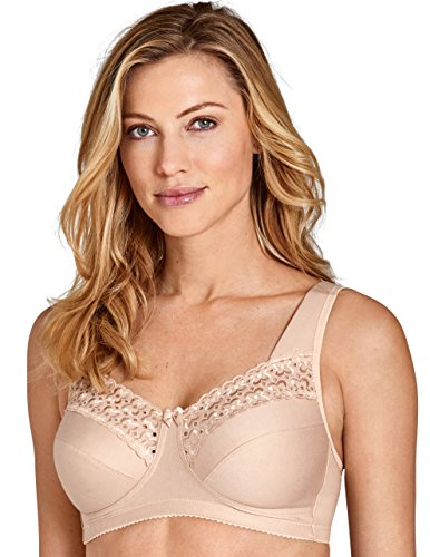 Miss Mary Of Sweden Broderie Anglaise Women's Non-Wired Comfort Cotton Bra Beige