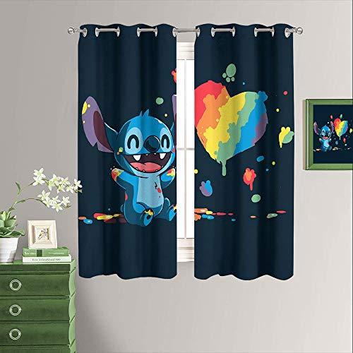 Lilo & Stitch - Cortina para dormitorio, oscurecimiento de habitación, color negro, ahorro de energía, para dormitorio, sala de estar, 55 x 45 pulgadas