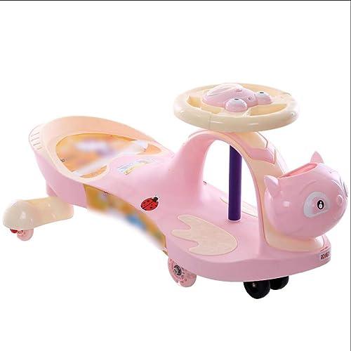 LiRuShop Bobbycars & Rutscher Swing Auto Twist Auto Kinder verdrehen Auto Muted Wheel mit Scooter Swing Auto Baby Auto 1-3-6 Jahre alt (Farbe   Rosa)
