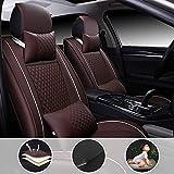 shanhua Asientos de Auto de para automóvil Cubiertas Juego Completo de 5 Asientos Universal para S ubaru WRX con reposacabezas y cojín Lumbar marrón