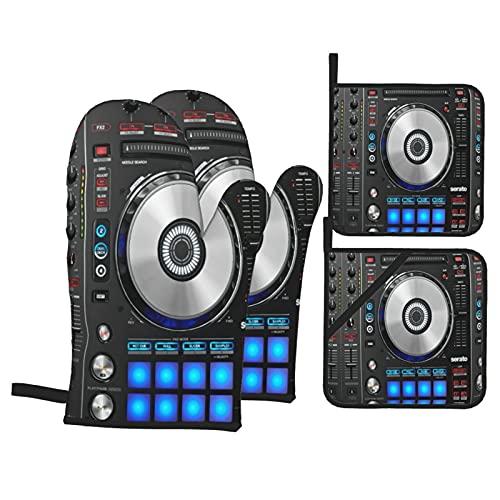 Juego de 4 Guantes de Horno y agarraderas,Impresión DJ Pioneer Pattern D,Utilizado para cocinar,Hornear y Asar a la Parrilla