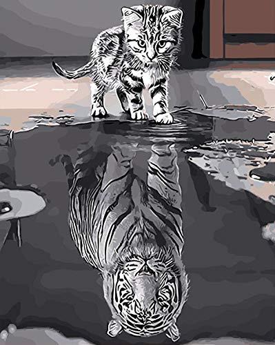 LIK DIY Dipingere con i Numeri Kit, Pittura a Olio Adatta per Adulti con pennelli e pigmento Decorazione Domestica (Senza Telaio) Tigre 40 * 50cm