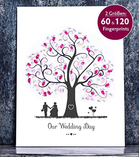 Wedding Tree Fingerabdruckbild Baum 2 auf Leinwand für die Hochzeit (45 x 60 cm)