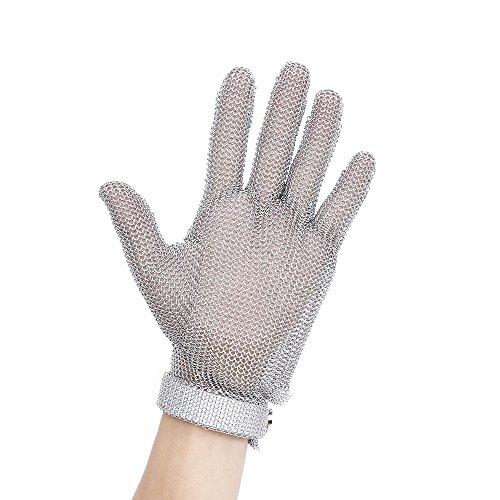Blusea Werkhandschoenen, 1 stuks, snijbestendige keukenhandschoenen, gemaakt van roestvrij staal met plastic band