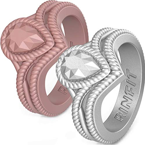 Silicone Wedding Ring for Women by Rinfit Rings - Designed & Soft Women's Wedding Bands. Silicone Rubber. U.S. Design Patent Pending. (Matt Rose Gold, Matt Silver. Size 7)