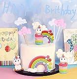 Sunshine smile Rainbow Cake Toppers,Arco Iris Decoración de Pasteles,Cupcake Topper Set,Adorno de Pa...