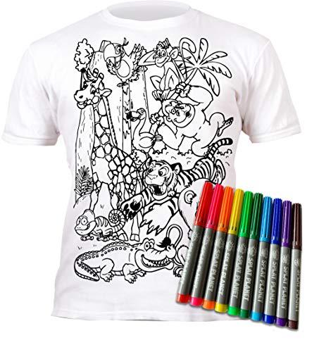Maglietta per bambini e ragazzi Zoo Zootiere da colorare e da colorare con prestampo. Include 6 pennarelli Magic lavabili. bianco 9-11 Anni
