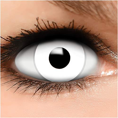 Farbige Kontaktlinsen Zombie in weiß + Behälter - Top Linsenfinder Markenqualität, 1Paar (2 Stück)