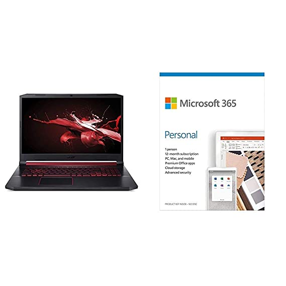 Acer Nitro 5 Intel Core i7-9th Gen 17.3-inch Display 1920 x 1080 Gaming Laptop (8GB/1TB HDD/Win10 Home/4GB NVIDIA GeForce GTX 1650/Black)+Microsoft 365 Personal-One Year Subscription Included