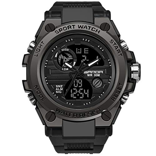 Men's Digital Sports Watch, Multi-Functions Dual-Display Tactical Watch for Men with Backlight (Black)