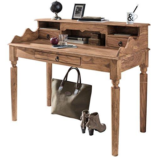 Wohnling Schreibtisch KADA Massivholz Akazie, Sekretär 115 x 100 x 60 cm mit 3 Schubladen und Fächern, Konsolentisch Landhaus-Stil aus Natur-Holz modern, Arbeits-Tisch mit vielen Ablagemöglichkeiten