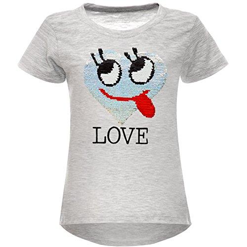 BEZLIT BEZLIT Mädchen Wende-Pailletten T-Shirt Herz Love Motiv 22605 Grau Größe 104