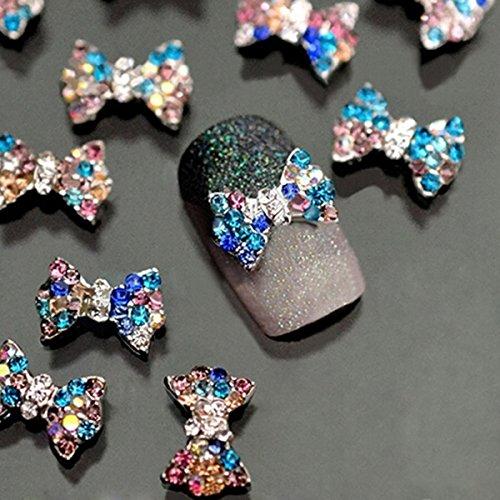 WINOMO 10pcs Bowknot Décoré en Forme de Nail Art Sticker Décoration (Multicolore)