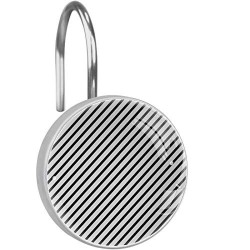 ZDL Gancho de ducha con diseño de rayas blancas y negras, cada juego de 12 ganchos de ducha de acero inoxidable, anillo de decoración de baño, sala de estar, dormitorio, decoración del hogar