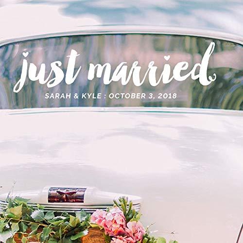 Recién casados pegatinas de pared de vinilo de boda nombre de amante...