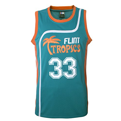 MOLPE Moon 33 Flint Tropics Basketball Jersey and Shorts, Halloween Costume, 90S Hip Hop Clothing (33-Green, M)