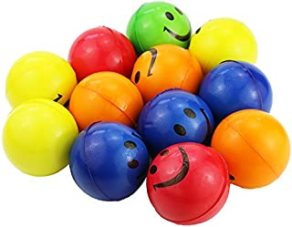 Mseeur Neon Colored Smile Funny Face Stress Ball - Happy Smiley Face Stress Balls Bulk Pack of 12 Relaxable 2.5