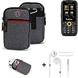 K-S-Trade® Gürtel-Tasche + Kopfhörer Für Ruggear RG150 Handy-Tasche Holster Schutz-hülle Grau Zusatzfächer 1x