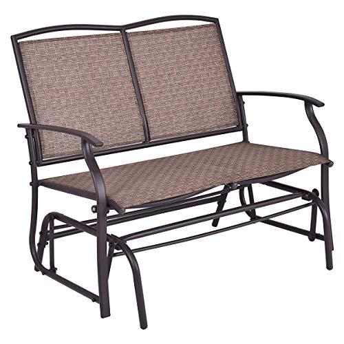 Brown Textilene Steel Patio Porch Swing Glider Bench for 2 Persons Rocking Chair, Garden Loveseat Outdoor Furniture