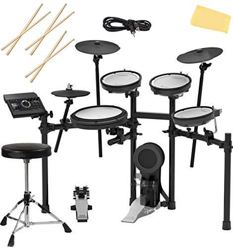 Roland TD-17KV-S Electronic Drum Set Bundle with Drum Throne, 3 Pairs of Sticks,...