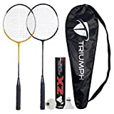 TRIUMPH Badminton Racquet, TRIUMPH Passion Badminton Racket Set- 2 Pc Badminton Racket with 10 Pc TRIUMPH ZX Feather Shuttlecock and Full Racket Cover to Carry Both Rackets, Perfect for Adults