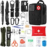 Survival Kit 72 in 1, Gifts for Men, Professional Survival Gear Equipment Tools First Aid Supplies for SOS Emergency Tactical Hiking Hunting Disaster Camping Adventures(Black)