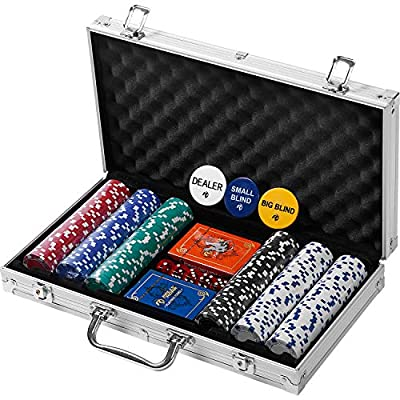 Professional 200 Chips (11.5g) Poker Set with Case by Rally & Roar - Complete Poker Playing Game Sets with Casino Style Chips, Cards, Dice, Aluminum Color Case & Keys