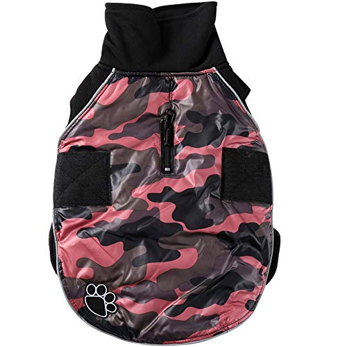JoyDaog High Collar Cross Dog Coats for Small Dogs Waterproof Warm Puppy Jacket for Cold Winter,Pink Camo M