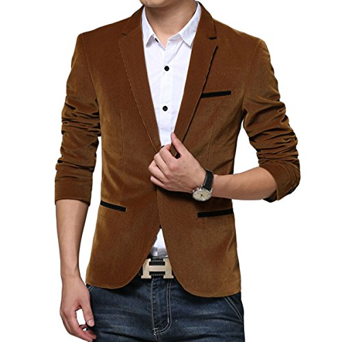 YOUTHUP Heren Blazer Classic Slim Corduroy pak Jassen Mode Casual Jas Bovenwerk