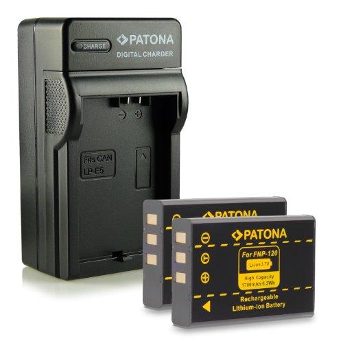 Neuheit - 4in1 Ladegerät mit micro USB Anschluss + 2x Akku wie NP-120 für Fujifilm FinePix F10   FinePix F11   FinePix M603
