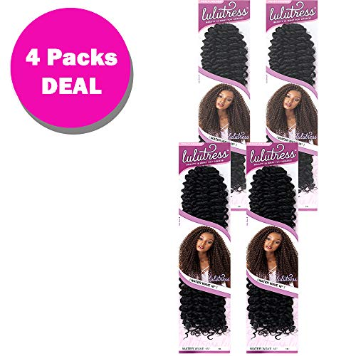 "Sensationnel Lulutress Crochet Braid Water Wave 18"" (4-Pack) (#1 Jet Black)"