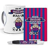 Pack Original y Personalizado para Regalo, Ideal para Hobby. Ser del Barcelona me Mola un Huevo. Libreta, boligrafo y Taza Maxima Calidad.