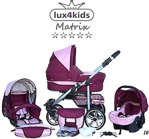 Cochecito de bebe 3 en 1 2 en 1 Trio Isofix silla de paseo X-Car by SaintBaby burdeos & rosa 3in1 con Silla de coche