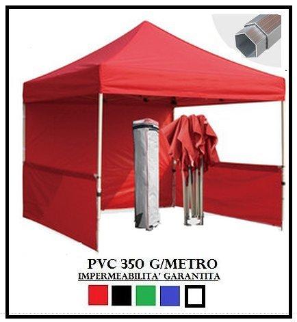 Tonnelle Pliante Rouge Aluminium hexagonale 40 mm 3 x 3 + 4 bâches latérales PVC 350 g mètre