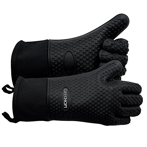 GEEKHOM Oven Gloves Heat Resistant Silicone Oven Mitts BBQ Gloves Waterproof Kitchen Gloves, Cooking Accessories for Baking Barbecue Grilling Weber Pizza Microwave Oven Glove, Non-Slip, Black