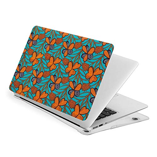 Laptop Case for MacBook, Orange Orchid Bright Dashiki Ankara African Fabric Laptop Computer Hard Shell Cases Cover (New Air13 / Air13 / touch13 / touch15)