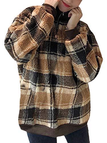Femme Pullover Elégante Vintage Classic À Carreaux Grossesse Sweat Maternité Shirt Automne Hiver Chic Mignon Manches Longues Col Debout Large Fashion Warm Maternité Haut (Color : Brown, Size : XL)