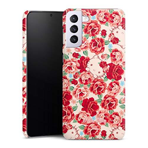 DeinDesign Premium Hülle kompatibel mit Samsung Galaxy S21 Plus 5G Smartphone Handyhülle Hülle glänzend Muster Hello Kitty Pfingstrosen