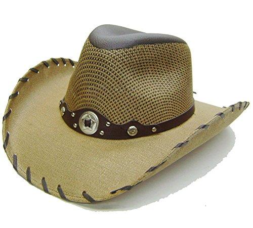 Modestone Unisex Chapeaux Cowboy Contrasting Laced Edge Beige
