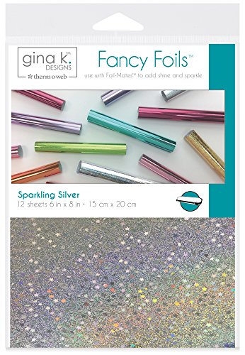 """Gina K. Designs for Therm O Web Sparkling Silver Gina K Designs Fancy Foil 6""""X8"""" 12/Pkg, Count Michigan"""