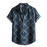 YUTING Camisa de verano de manga corta para hombre, con estampado de playa, corte entallado, cuello en V, básica, camiseta E_azul. XXXL