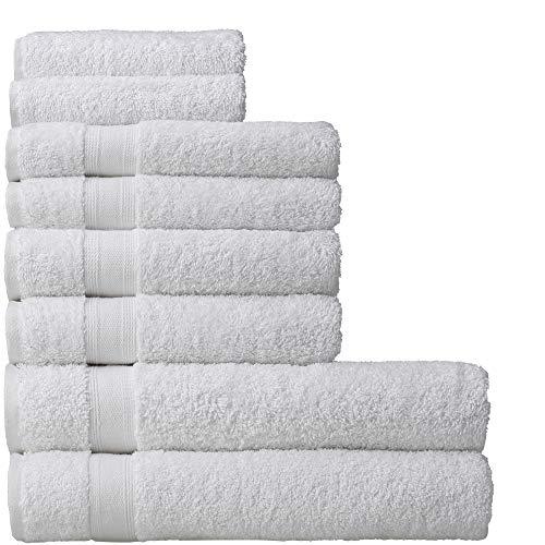 nottoc Juego de toallas de rizo, color blanco, 2 toallas de baño, 4 toallas de mano y 2 toallas de invitados, 100% algodón, absorbentes, toallas turcas de lujo, 8 unidades