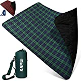KAMUI Outdoor Waterproof Blanket - Machine Washable Picnic Blanket, Waterproof & Windproof Backing, Shoulder/Hand Strap Great for Festival, Park, Beach, Stadium Blanket 79X55inch 201X140cm Blue Green