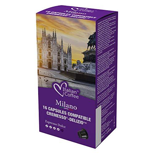 96 Capsule di caffè Italian Coffee compatibili con i sistemi Cremesso e Delizio (Milano Dolce)
